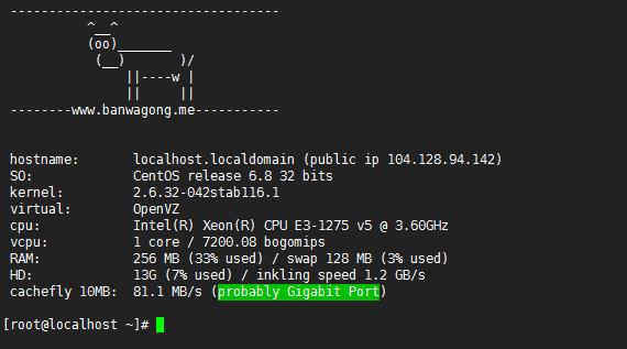 一键脚本检查VPS服务器硬件配置及下载速度