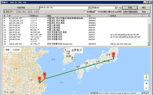 Vultr日本机房的路由线路