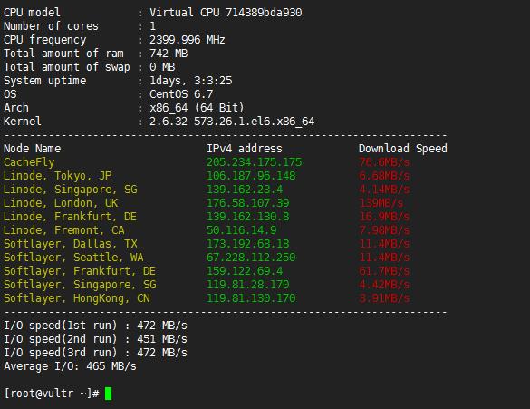 VULTR法国VPS主机CPU、随机网络下载速度