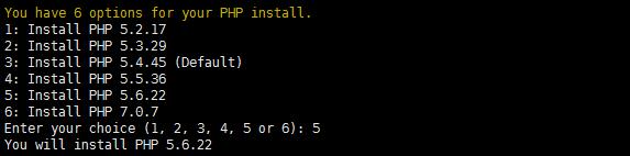 选择PHP版本