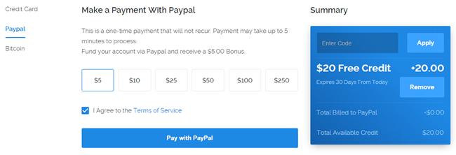 输入VULTR优惠码以及支付
